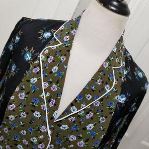 Sandro Paris Pajama Style Floral Button Up Blouse